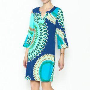 Aryeh Printed Boho Burst Shift Colorful Dress Med